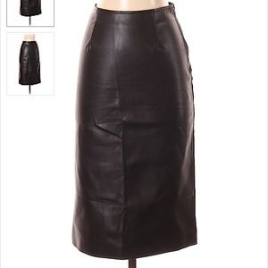 🛍 Black faux leather skirt with back split
